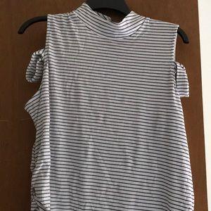 Bisou bisou white cold shoulder shirt with straps.
